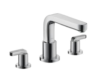 Hansgrohe Metris S 3-Hole Roman Tub Set with Double Lever Handle in Polished Chrome H31438001