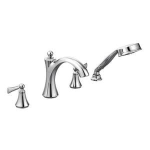 Moen Wynford™ 4-Hole Roman Tub Faucet Trim Hand Shower with Double Lever Handle MT654