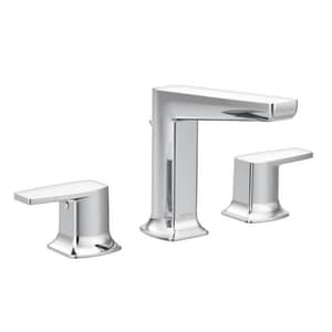 Moen Via™ Two Handle Widespread Bathroom Sink Faucet in Polished Chrome MTS8002
