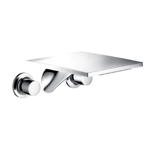AXOR Massaud Double-Handle Wall Mount Widespread Lavatory Faucet in Polished Chrome AX18115001