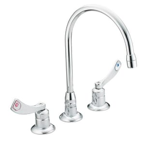 Moen M-Dura™ Widespread High Arc Lavatory Faucet with Double Wristblade Handle in Polished Chrome M8225