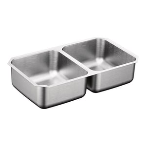 Moen 2-Bowl Undermount Rectangular Kitchen Sink with Center and Rear Drain in Stainless MG20210B