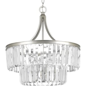 Progress Lighting Glimmer 60W 5-Light Candelabra E-12 Base Incandescent Pendant in Silver Ridge PP5321134