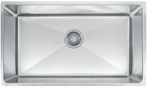Franke Professional Series 31-7/16 x 17-5/8 in. No Hole Single Bowl Undermount Kitchen Sink in Stainless Steel FPSX1103010