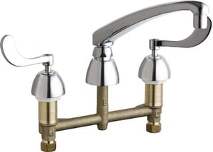Chicago Faucet 1.5 gpm 2 Hole Deck Mount Widespread Water Sink Faucet with Double Wristblade Handle in Polished Chrome C201AL8E35317AB