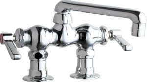 Chicago Faucet 1.5 gpm 2 Hole Deck Mount Centerset Hot and Cold Water Sink Faucet with Lever Handle in Polished Chrome C772E35ABCP