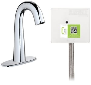 Chicago Faucet 9-7/8 in. 0.5 gpm 3-Hole Electronic Lavatory Faucet with 4 in. Centerset and Thermostatic Mixing Valve in Chrome-Plated CEQC12A13ABCP