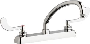 Chicago Faucet Centerset Hot and Cold Workboard Faucet with Double Wristblade Handle in Polished Chrome CW8DL9E1317ABCP