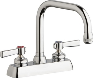 Chicago Faucet Fixed Center Hot and Cold Water Workboard Sink Faucet in Polished Chrome CW4DDB6AE1369ABCP