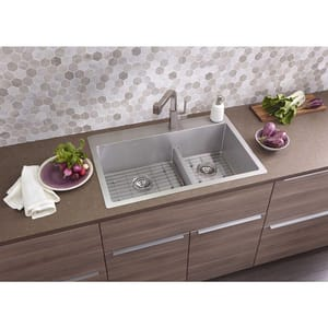 Elkay Crosstown® 33 x 22 in. 1 Hole Stainless Steel Double Bowl Dual Mount and Undermount Kitchen Sink EECTSRAO33229BG1