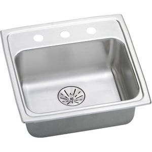 Elkay Lustertone® 19-1/2 x 19 in. 3-Hole 1-Bowl Self-rimming or Drop-in 304 Stainless Steel Kitchen Sink with Rear Center Drain in Lustrous Satin ELRADQ191965PD3