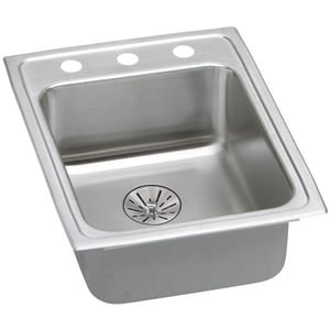 Elkay Lustertone™ Classic 17 x 22 in. 3 Hole Stainless Steel Single Bowl Drop-in Kitchen Sink in Lustrous Satin ELRAD172265PD3