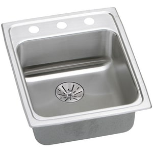 Elkay Lustertone® 17 x 20 in. 3-Hole 1-Bowl Self-rimming or Drop-in 304 Stainless Steel Kitchen Sink with Rear Center Drain in Lustrous Satin ELRAD172065PD3