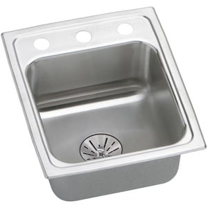 Elkay Lustertone™ Classic 15 x 17-1/2 in. 1 Hole Stainless Steel Single Bowl Drop-in Kitchen Sink in Lustertone ELRADQ151765PD