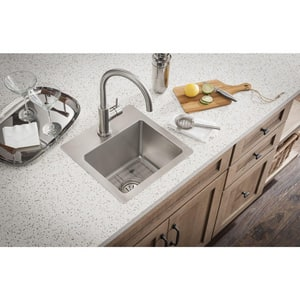 Elkay Crosstown® 15 x 15 in. 2 Hole Drop-in and Undermount Stainless Steel Bar Sink in Polished Satin EECTSR15159BG2