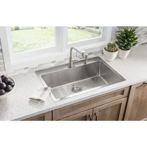 Elkay Crosstown™ 9 in. 18 ga 2-Hole 1-Bowl Drop-In and Undermount Kitchen Sink Kit in Stainless Steel EECTSRS33229BGML2
