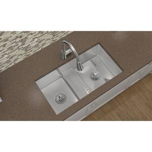 Elkay Crosstown® 2-Bowl Stainless Steel Undermount Kitchen Sink in Polished Satin EEFULB331810CDB