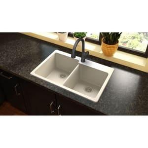 Elkay Quartz Classic® 33 x 22 in. No Hole Composite Double Bowl Drop-in Kitchen Sink in Bisque EELG250RBQ0