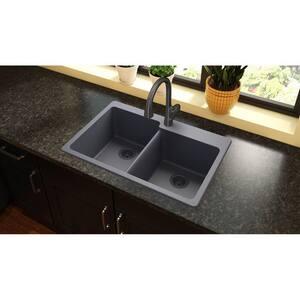 Elkay Quartz Classic® 33 x 22 in. Composite Double Bowl Drop-in Kitchen Sink in Dusk Grey EELG250RGY0