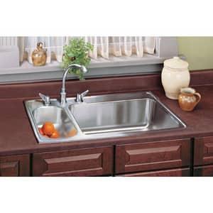 Elkay Gourmet® 2-Hole 2-Bowl Self-rimming or Drop-in Kitchen Sink in Lustertone ELMR3322MR2