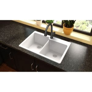 Elkay Quartz Classic® 33 x 22 in. No-Hole  Single Bowl Topmount Kitchen Sink in White EELG250RWH0