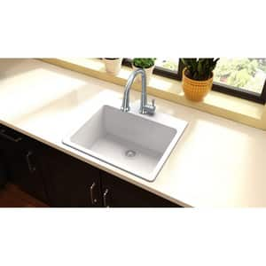Elkay Quartz Classic® 25 x 22 in. Composite Single Bowl Drop-in Kitchen Sink in White EELG2522WH0