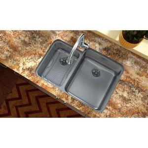 Elkay Lustertone™ 30-3/4 x 21 in. No Hole Stainless Steel Double Bowl Undermount Kitchen Sink in Lustertone EELUH3121L