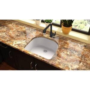 Elkay Quartz Classic® 25 x 22 in. Composite Single Bowl Undermount Kitchen Sink in White EELGSU2522WH0