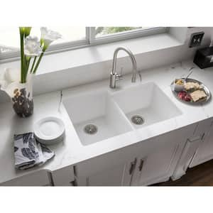 Elkay Quartz Classic® 33 x 20-1/2 in. Composite Double Bowl Undermount Kitchen Sink in White EELGU250RWH0