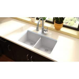 Elkay Quartz Classic® 33 x 18-1/2 in. Composite Double Bowl Undermount Kitchen Sink in White EELGU3322WH0