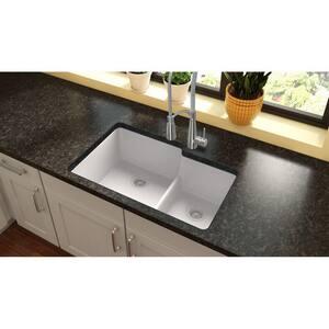 Elkay Quartz Classic® 33 x 20-1/2 in. Composite Double Bowl Undermount Kitchen Sink in White EELGULBO3322WH0