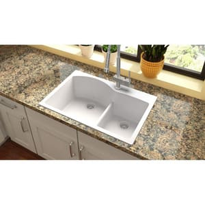 Elkay Quartz Classic® 33 x 22 in. 2-Bowl Self-rimming or Drop-in Kitchen Sink in White (Less Hole) EELGH3322RWH0