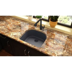 Elkay Quartz Classic® 25 x 22 in. 1-Bowl Kitchen Sink with Rear Center Drain in Dusk Grey EELGSU2522GY0