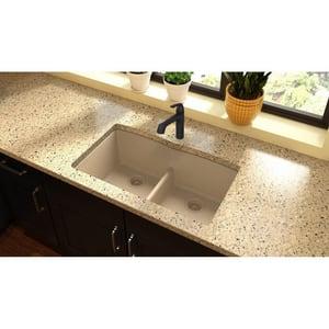 Quartz Classic® QUARTZ Classic 33 x 19 x 10 Double Bowl Undermount Sink with Aqua Divide  Sand EELGDULB3322SD0