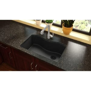 Elkay Quartz Classic® 33 x 20 in. Composite Single Bowl Undermount Kitchen Sink in Black EELGUS3322RBK0