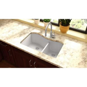 Elkay Quartz Classic® 32-1/2 x 20 in. No Hole Composite Double Bowl Undermount Kitchen Sink in White EELGHU3220RWH0