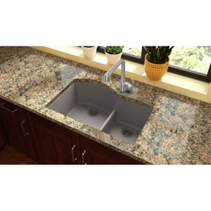 Elkay Quartz Classic® 33 x 22 in. Composite Double Bowl Undermount Kitchen Sink in Greige EELGHU3322RGR0