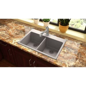 Elkay Quartz Classic® 33 x 22 in. No Hole Composite Double Bowl Drop-in Kitchen Sink in Greige EELG3322GR0