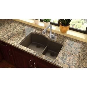 Elkay Quartz Classic® 33 x 22 in. No Hole Composite Double Bowl Undermount Kitchen Sink in Mocha EELGHU3322RMC0