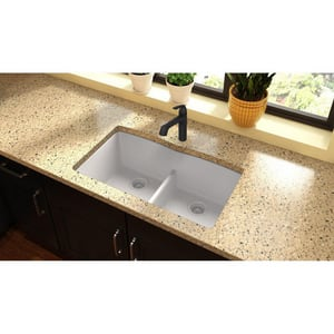 Elkay Quartz Classic® 33 x 19 in. Composite Double Bowl Undermount Kitchen Sink in White EELGDULB3322WH0