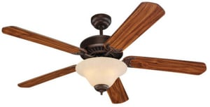 Seagull Lighting Quality Pro 52 in. Quality Pro Deluxe Ceiling Fan in Roman Bronze With White Faux Alabaster Glass S15163B191