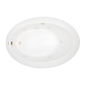 JACUZZI® Riva® 62 x 43 in. Acrylic Oval Drop-In or Undermount Whirlpool Bathtub with Right Drain and J2 Basic Control in White JRIV6243WRL2CHW