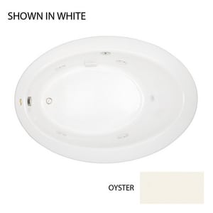 JACUZZI® Riva® 62 x 43 in. Acrylic Oval Drop-In or Undermount Whirlpool Bathtub with Right Drain and J2 Basic Control in Oyster JRIV6243WRL2CHY