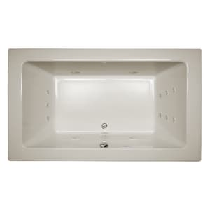 JACUZZI® Sia® 72 x 42 in. 13-Jet Acrylic Rectangle Drop-In or Undermount Whirlpool Bathtub with Center Drain and J4 Luxury Control in Oyster JSIA7242WCR4CW