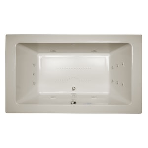 JACUZZI® Sia® 72 x 42 in. 13-Jet Acrylic Rectangle Drop-In or Undermount Spa Combination Bathtub with Center Drain and J4 Luxury Control in Oyster JSIA7242CCR4IW