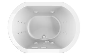 Jacuzzi Duetta® 60 x 42 in. 16-Jet Acrylic Oval Drop-In or Undermount Whirlpool Bathtub with Center Drain and J2 Basic Control JDUE6042WCR2XX