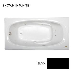 JACUZZI® Amiga® 72 x 36 in. Whirlpool Drop-In Bathtub with End Drain in Black JAMI7236WRL2CHB
