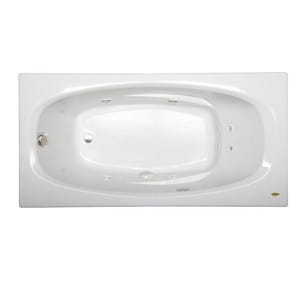 JACUZZI® Amiga® 72 x 36 in. Whirlpool Drop-In Bathtub with End Drain in White JAMI7236WLR2HXW