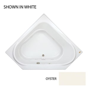 JACUZZI® Capella® 60 x 60 in. 8-Jet Acrylic Corner Drop-In or Skirted Whirlpool Bathtub with Left Drain with Center Drain and J2 Basic Control in Oyster JCAP6060WCL2XXY