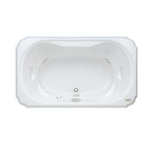 Jacuzzi Bellavista™ 59-3/4 x 41-3/4 in. 10-Jet Acrylic Rectangle Drop-In Spa Combination Bathtub with Center Drain and J4 Luxury Control JBEL6042CCR4IH